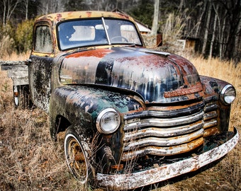"Old Truck Photography, Vintage Truck, Chevy, Vintage Chevrolet, Old Car, Wall Decor, Poster, Man Cave, Boys Room, Garage Art - ""Weathered"""