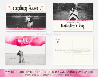 Valentine's Day Photocard Template, set of three 5x7 cards, watercolor, brush design - CAR002