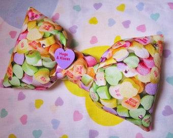 Valentine's Day bow, Conversation Hearts sweet lolita hair clip hairdresser gift gifts under 20