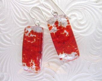 Red Shimmer Dichroic Dangles, Handmade Fused Glass Jewelry from North Carolina