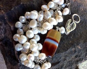 pearl bracelet agate focal. Silver leaf clasp. minimalist. white pearls feminine