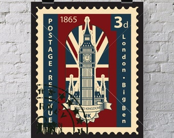 1865 London Bigben Postage art print - Just for wall decor, don't put on envelope