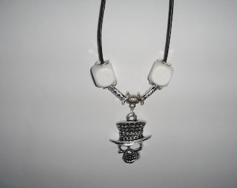 man KARL skull pendant leather cord necklace