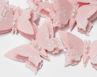 Pink Butterflies Glittered Scrapbooking Embellishment