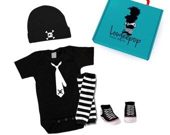 ROCKSTAR BABY KIT Skull Tie Onesie, hat, Sneaker booties, leg warmers & optional gift box
