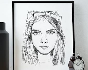 Fashion Illustration Print /Cara Delevingne