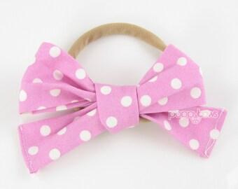 Baby Headband, fabric bow headband, girls headband, dot pixie pink headband, toddler headband, nylon headband, newborn infant headband baby