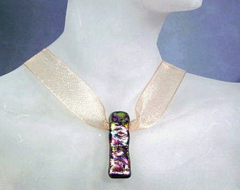 Iridescent Purple Dichroic Glass Vertical Bar Necklace ~ Ribbon Choker with Dichroic Glass Pendant ~ adjustable 14-16 inches