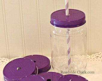 Plastic Mason Jars, Straw Lids, 6 Plastic Mason Jars & Metal Lid with Straw Hole, Mason Jar Cups, Baby Shower Favors, Wedding Favors, 17 Oz