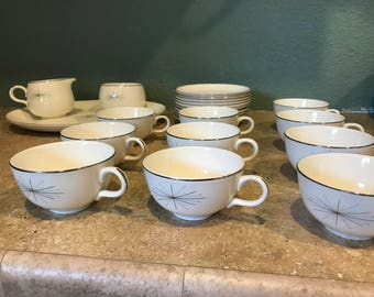 Mid century, Modern Star Teacups and saucers set of 10