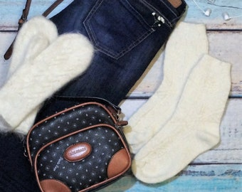 White wool set of socks and mittens Pure sheep wool knee socks White wool high socks Thin white wool socks and mittens Made in Russia