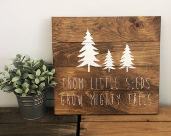 From Little Seeds Wooden Sign - Hand Painted - Farmhouse Decor - Nursery Decor - Wall Decor