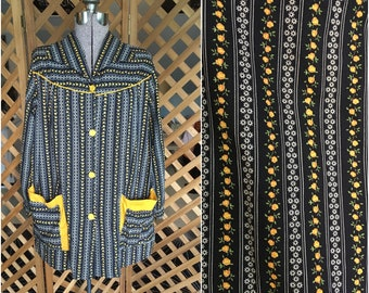 Womens Vintage 1970s Apron Style Top Black and Yellow Retro Handmade Blouse Medium Large Hippie Flower Child