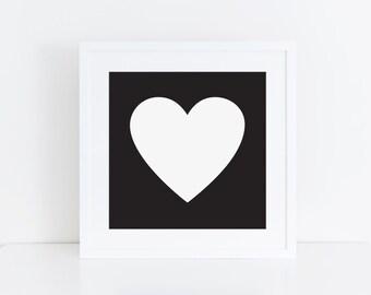 5x5 PRINTABLE   Heart Art Print   Black