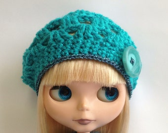 """PDF Pattern for Blythe Crochet beret  - 12"""" Middie and Petite sizes included"""