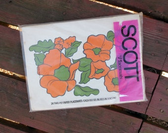 1970s Vintage Scott Paper Placemats with Bold Orange Flowers, Poppies, in Original Package of 24, New Old Stock