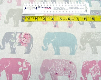 Deco Canvas Fabric Clarke & Clarke pink elephants Cotton fabric 0.54yd (0.5m) 002615
