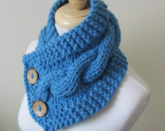 """Knit Neck Warmer, Cable Knit Scarf,  Chunky Warm Winter Scarf in Sky Blue 6"""" x 25"""" - Coconut Shell Buttons Ready to Ship - Gift for Her"""