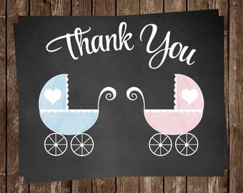 Baby Shower Thank You Cards, Chalkboard, Twins, Girl, Boy, Pink, Blue, Rustic, Lace, Baby Carriage, Stroller, Buggy, 20 Printed Cards