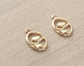 2 pcs of Matte Gold Plated Bird Brass Pendants - 16 mm