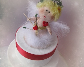 Saint Valentine Cupid Angel Felt Cake Topper - Birthday or Valentine Love Party Theme