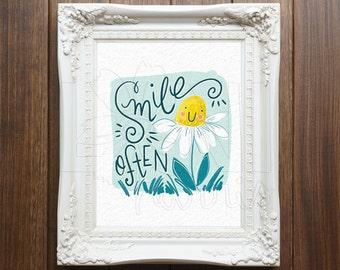 Nursery Wall Art Printable, Instant Download File, Smile Often Art, 8x10 home decor print