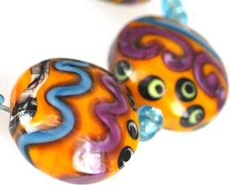 Lampwork glass beads Orange Stones (5), jewelry supplies, handmade lampwork, beads