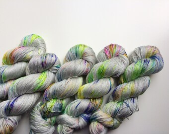 Hand dyed yarn 4ply finger weight merino and silk 100g. In Moon Hopping ethically sourced.