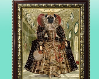 FRAMED Whimsical Quirky Fawn Pug Tudor Queen Elizabeth Giclee Print 8 x 10 Wall Art Girl Dog Animal Wearing Clothes Anthropomorphic Anthro