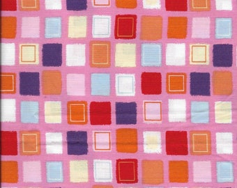 New Multi Color Squares on Pink 100% cotton fabric by the Quarter yard