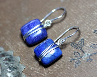 Lapis Earrings Silver Wire Wrapped Blue Gemstone Earrings Sterling Silver and Blue Earrings
