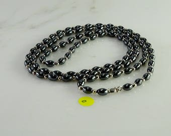 """Hematite and Sterling Necklace (48"""")"""
