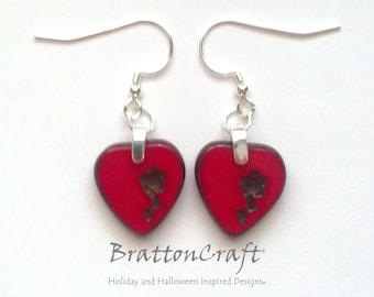 Red Heart Earrings - Valentine Earrings - Red Glass Heart Earrings - Czech Picasso Glass Earrings - Valentine's Day Earrings