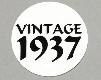 80th Birthday - Vintage 1938, Stickers - Round 1 1/2 Inch, White or Your Choice of Color, Set of 12