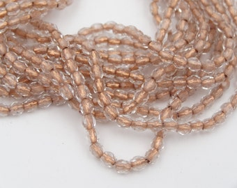 Czech Glass 3mm Fire Polished Crystal Copper Lined  50 Pieces