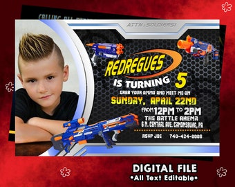 Nerf Invitation, Nerf Birthday, Nerf Party, Nerf Card, Nerf Invites, Nerf Printable, Nerf Invite, Nerf Digital Download, Nerf, F0106