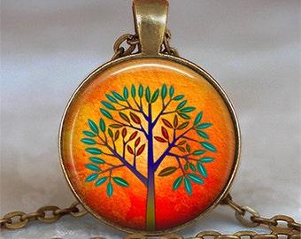 Orange Tree necklace, tree jewelry, tree pendant, modern art tree pendant, modern art tree necklace tree keychain key chain key ring key fob