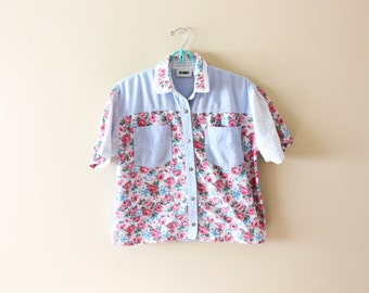 vintage 90's shirt blouse mixed floral print striped chambray 1990's womens clothing size small s