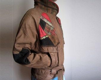 vintage leather 80s patchwork bomber biker jacket size S M