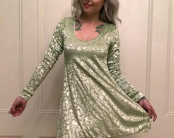 Spring Green Burn-Out Velvet Babydoll Dress S/M