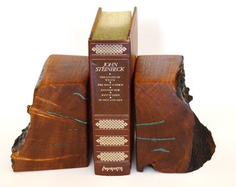 "Mesquite Book Ends; Solid Wood; Genuine Turquoise Inlay; Live Edge; Home or Cabin Decor; Each Piece approx. 5"" wide by 6"" tall; One set only"