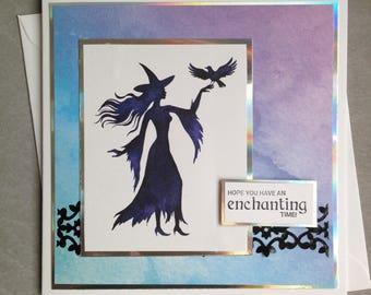 Handmade Raven Witch Greetings Card, Halloween Card, Birthday Card, Magic
