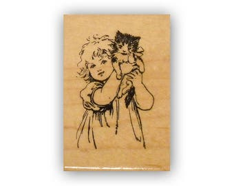 Girl and Kitten mounted rubber stamp cat, vintage style children, Crazy Mountain Stamps #8