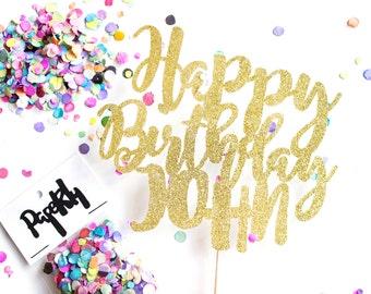 Custom Happy Birthday Cake Topper, Birthday Crown, Birthday Cake, Birthday Party, Birthday Banner, Birthday Candle, Candle, Birthday Topper