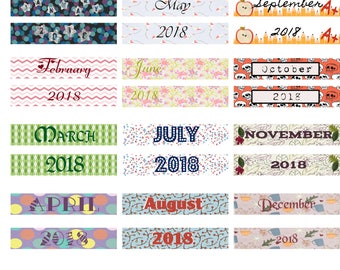 Monthly Headers for 2018 for Planner-Compatible With Most Planners Including Erin Condren™Planners-Large Name Planner Compatible