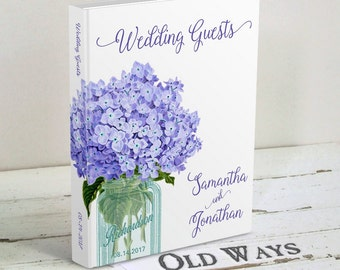 Mason Jar Rustic Wedding Guest Book, Wishes Book - Purple Hydrangea Flowers - Traditional Hardcover Custom Personalized Guestbook Y