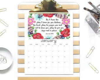 Bible Verse Calender 2018, Printable PDF, Inspirational Floral, Instant Download, Watercolor Flowers, Scripture Wall Art, Desk Planner