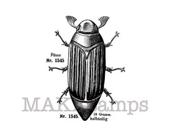 Gardening stamp / Summer chafer stamp / Unmounted bug rubber stamp or bug cling stamp (140211)