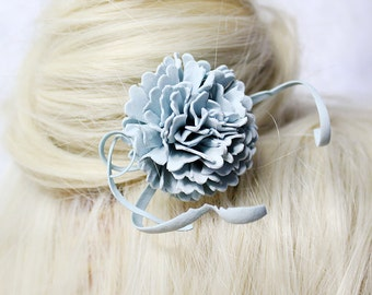 blue hair jewelry hair flower pin bridal hair stick hair accessory flower bridesmaid hair fascinator flower girl gift daughter ivory D1