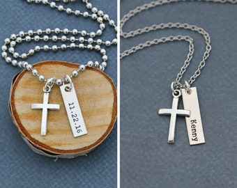 Mens Cross Necklace • Christening Gift Guys Baptism Gift Boys Confirmation Gift • Custom Boy Baptism Date Cross Jewelry Man Necklace
